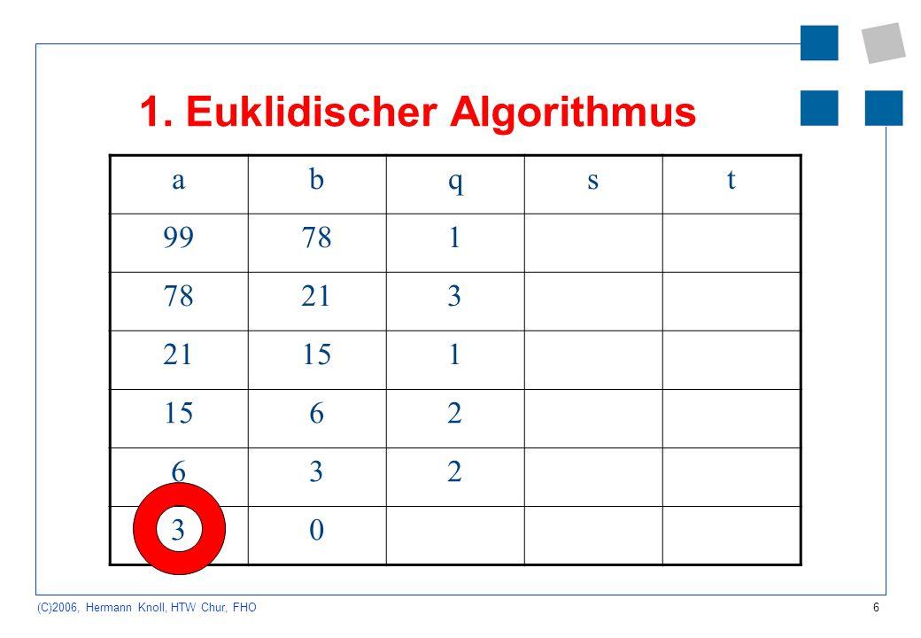 6 (C)2006, Hermann Knoll, HTW Chur, FHO 1. Euklidischer Algorithmus abqst 99781 213 151 62 632 30