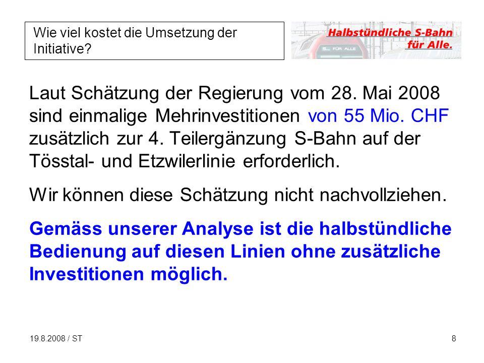 19.8.2008 / ST8 Wie viel kostet die Umsetzung der Initiative.
