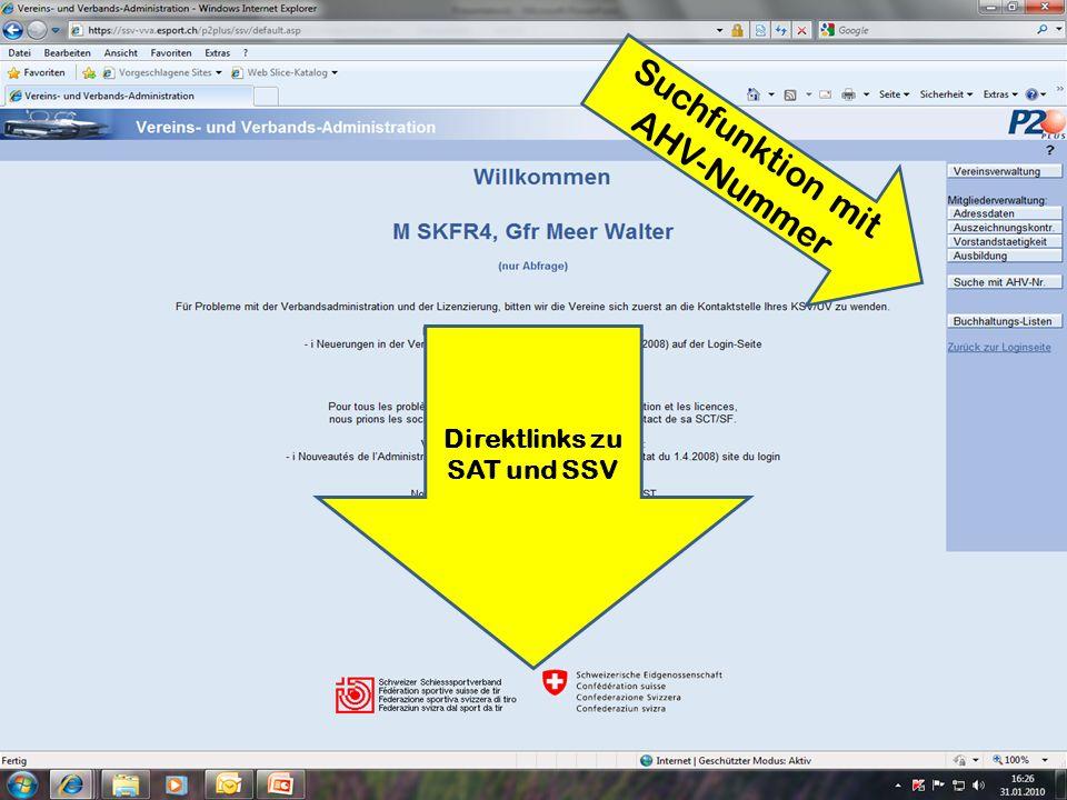 Suchfunktion mit AHV-Nummer Direktlinks zu SAT und SSV