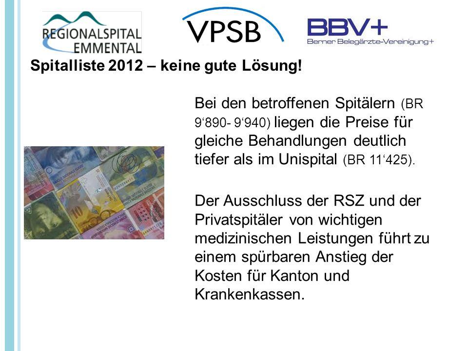 Spitalliste 2012 – keine gute Lösung.