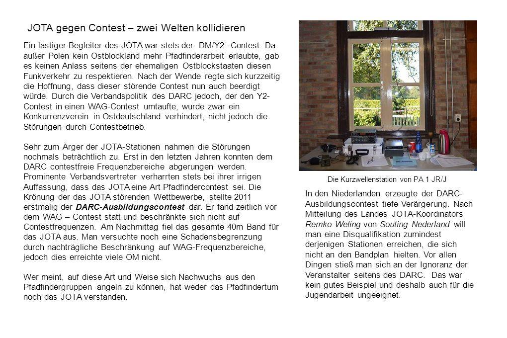 JOTA gegen Contest – zwei Welten kollidieren Ein lästiger Begleiter des JOTA war stets der DM/Y2 -Contest. Da außer Polen kein Ostblockland mehr Pfadf