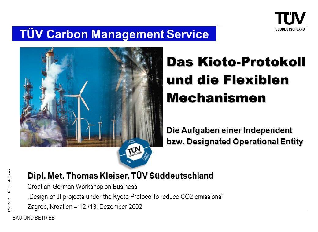 BAU UND BETRIEB SÜDDEUTSCHLAND 02-12-12 JI-Projekt-Zyklus TÜV Carbon Management Service Das Kioto-Protokoll und die Flexiblen Mechanismen Die Aufgaben