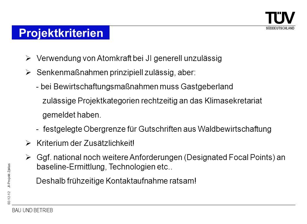 BAU UND BETRIEB SÜDDEUTSCHLAND 02-12-12 JI-Projekt-Zyklus Projektkriterien Verwendung von Atomkraft bei JI generell unzulässig Senkenmaßnahmen prinzip