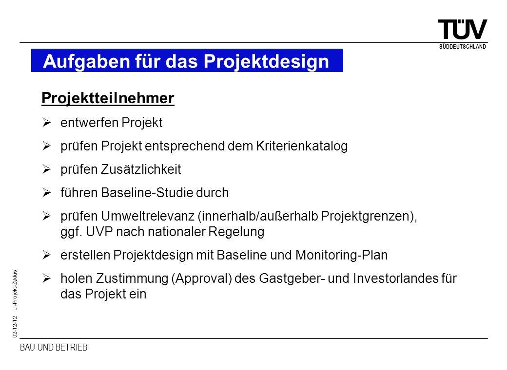 BAU UND BETRIEB SÜDDEUTSCHLAND 02-12-12 JI-Projekt-Zyklus Aufgaben für das Projektdesign Projektteilnehmer entwerfen Projekt prüfen Projekt entspreche