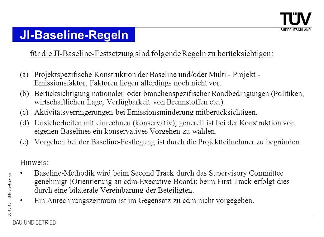 BAU UND BETRIEB SÜDDEUTSCHLAND 02-12-12 JI-Projekt-Zyklus JI-Baseline-Regeln für die JI-Baseline-Festsetzung sind folgende Regeln zu berücksichtigen: