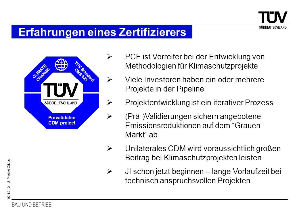 BAU UND BETRIEB SÜDDEUTSCHLAND 02-12-12 JI-Projekt-Zyklus Erfahrungen eines Zertifizierers PCF ist Vorreiter bei der Entwicklung von Methodologien für