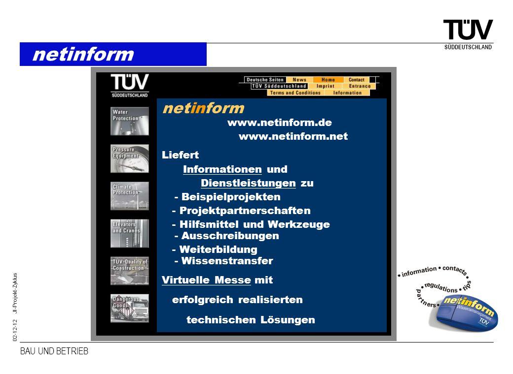 BAU UND BETRIEB SÜDDEUTSCHLAND 02-12-12 JI-Projekt-Zyklus netinform netinform www.netinform.de www.netinform.net Liefert Informationen und Dienstleist