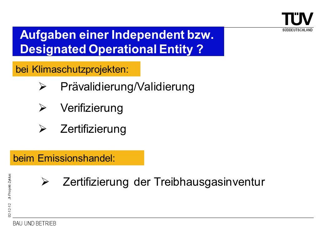 BAU UND BETRIEB SÜDDEUTSCHLAND 02-12-12 JI-Projekt-Zyklus Aufgaben einer Independent bzw. Designated Operational Entity ? Zertifizierung der Treibhaus