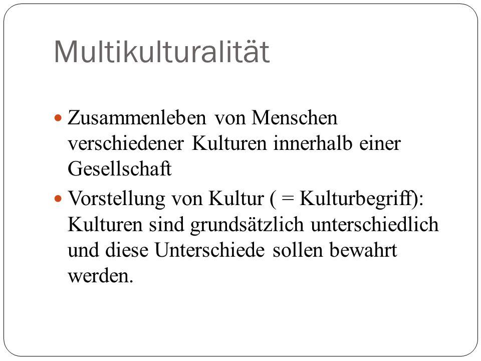 Multikulturalität Zusammenleben von Menschen verschiedener Kulturen innerhalb einer Gesellschaft Vorstellung von Kultur ( = Kulturbegriff): Kulturen s