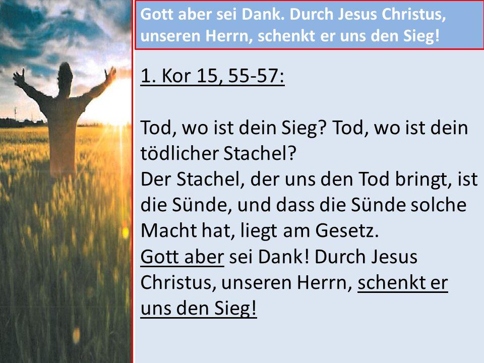 Gott aber sei Dank.Durch Jesus Christus, unseren Herrn, schenkt er uns den Sieg.