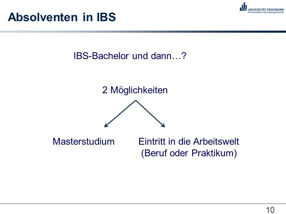 10 Absolventen in IBS IBS-Bachelor und dann…? 2 Möglichkeiten Masterstudium Eintritt in die Arbeitswelt (Beruf oder Praktikum)
