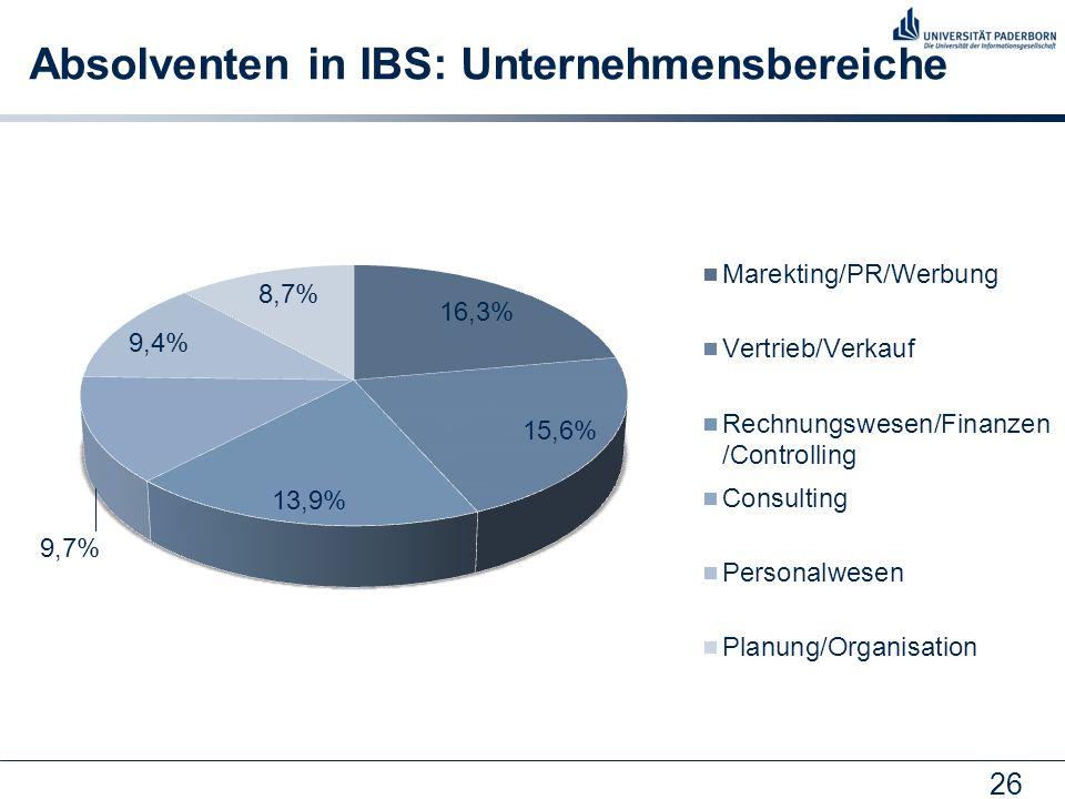 26 Absolventen in IBS: Unternehmensbereiche