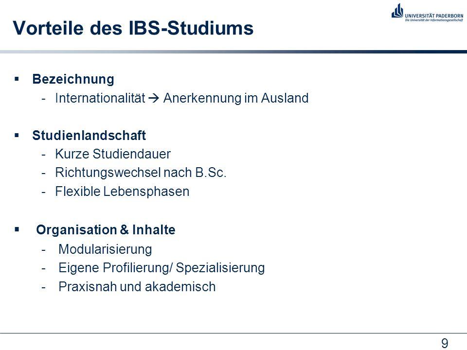 9 Vorteile des IBS-Studiums Bezeichnung -Internationalität Anerkennung im Ausland Studienlandschaft -Kurze Studiendauer -Richtungswechsel nach B.Sc. -