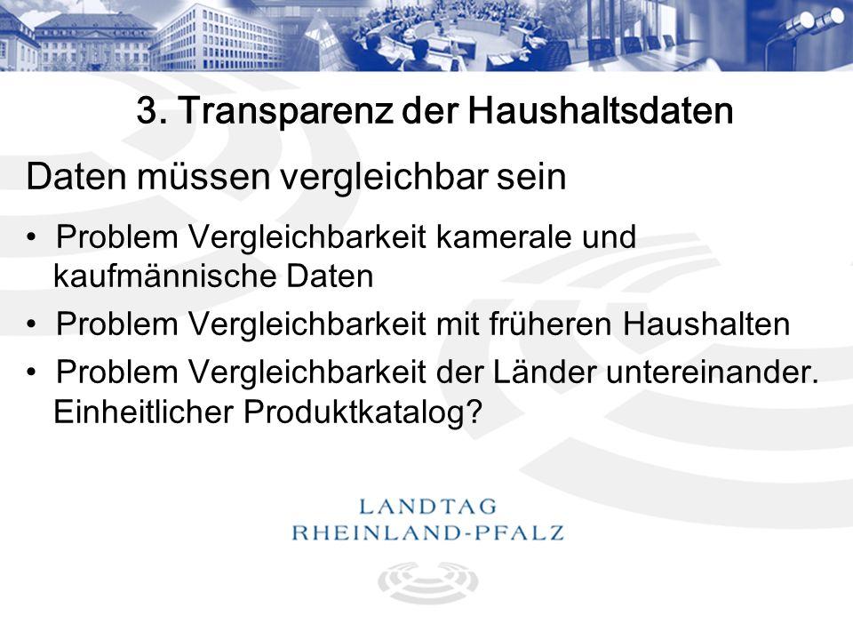 11 3. Transparenz der Haushaltsdaten Daten müssen vergleichbar sein Problem Vergleichbarkeit kamerale und kaufmännische Daten Problem Vergleichbarkeit