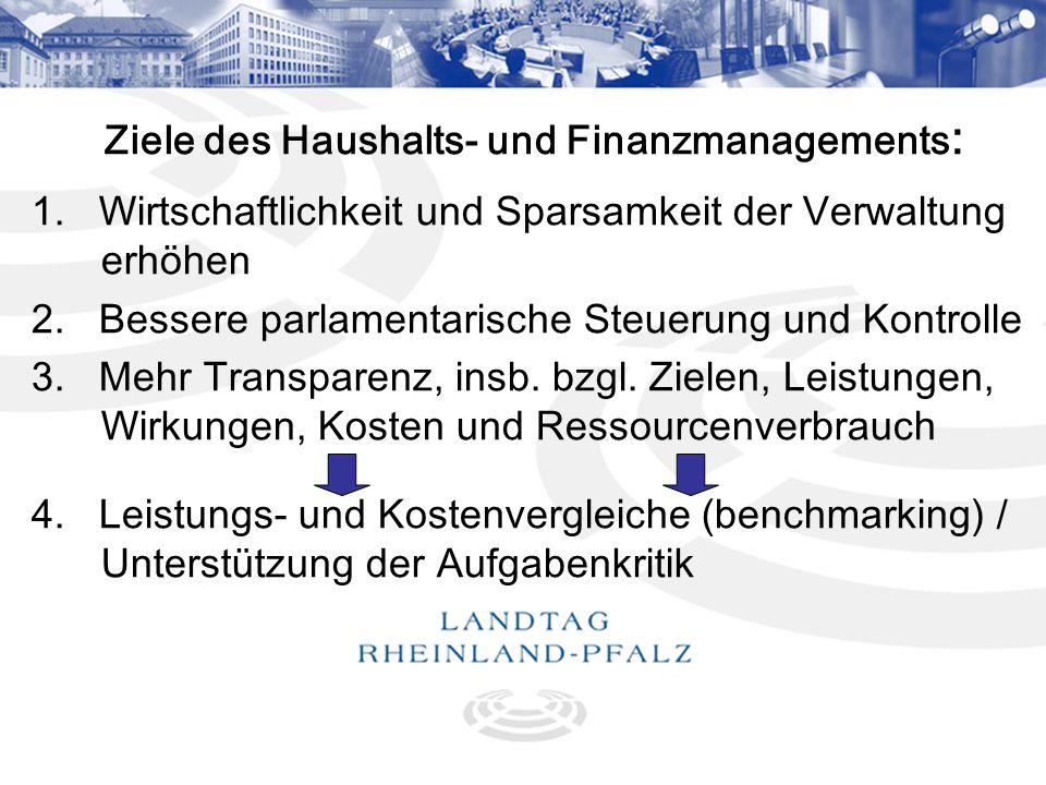 4 Ziele des Haushalts- und Finanzmanagements : 1. Wirtschaftlichkeit und Sparsamkeit der Verwaltung erhöhen 2. Bessere parlamentarische Steuerung und