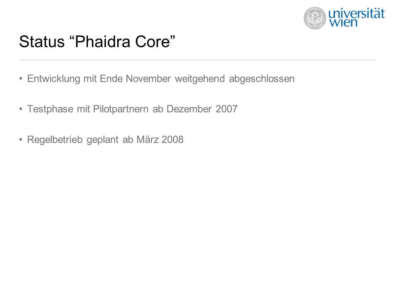 Status Phaidra Core Entwicklung mit Ende November weitgehend abgeschlossen Testphase mit Pilotpartnern ab Dezember 2007 Regelbetrieb geplant ab März 2008