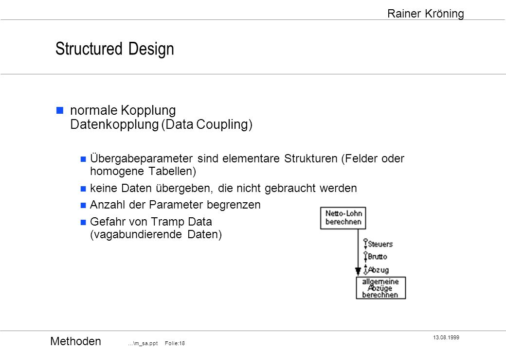 Methoden …\m_sa.ppt Folie:18 13.08.1999 Rainer Kröning Structured Design normale Kopplung Datenkopplung (Data Coupling) Übergabeparameter sind element