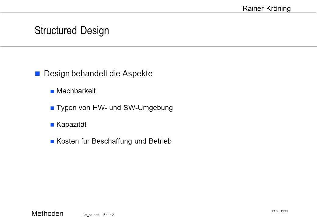 Methoden …\m_sa.ppt Folie:33 13.08.1999 Rainer Kröning Structured Design Decision Split vermeiden Entscheidung hat einen Erkennungsteil (Bedingung) und einen Ausführungsteil (Aktionen).
