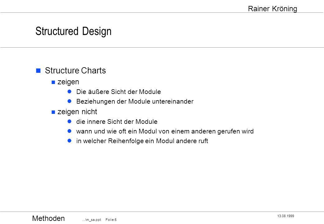Methoden …\m_sa.ppt Folie:16 13.08.1999 Rainer Kröning Structured Design Kopplung drei Arten der normalen Kopplung Datenkopplung (Data Coupling) Datenstrukturkopplung (Stamp Coupling) Kontrollkopplung (Control Coupling) globale Kopplung Inhaltskopplung