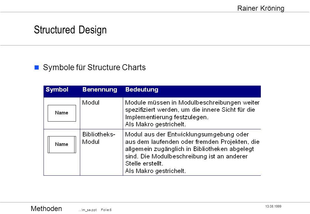 Methoden …\m_sa.ppt Folie:17 13.08.1999 Rainer Kröning Structured Design Normale Kopplung Modul 1 ruft Modul 2 auf Modul 2 gibt nach Abschluß seiner Aktionen die Kontrolle an Modul 1 zurück die Kommunikation zwischen Modul 1 und Modul 2 findet über explizit festgelegte Aufrufparameter statt.