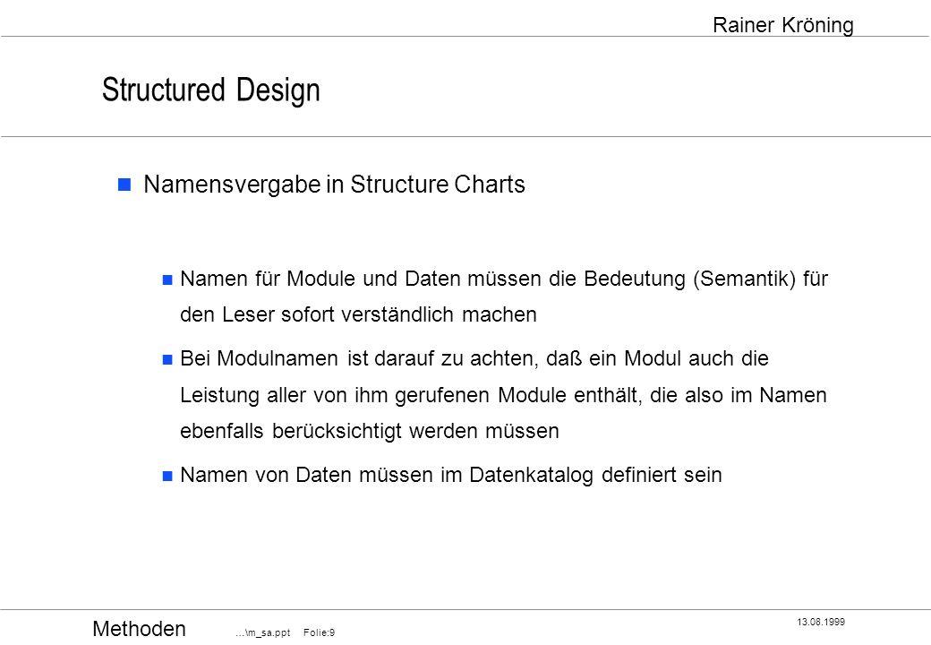 Methoden …\m_sa.ppt Folie:20 13.08.1999 Rainer Kröning Structured Design normale Kopplung Kontrollkopplung (Control Coupling) Parameter werden übergeben, die den Ablauf des anderen Moduls beeinflussen, d.h.
