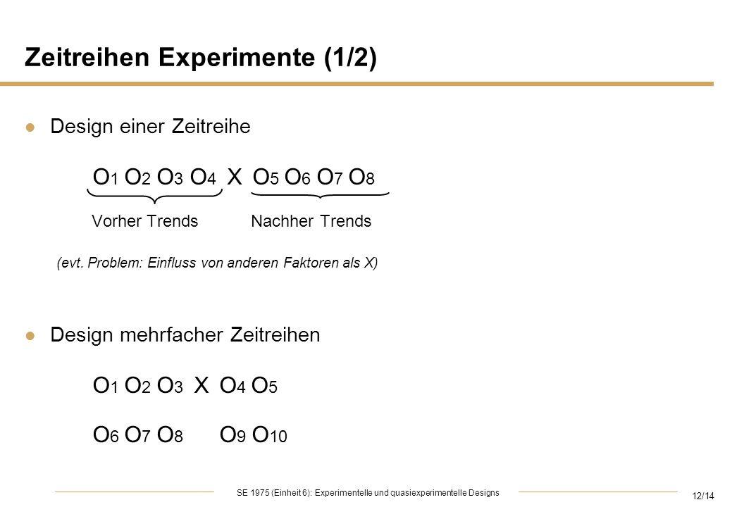 12/14 SE 1975 (Einheit 6): Experimentelle und quasiexperimentelle Designs Zeitreihen Experimente (1/2) l Design einer Zeitreihe O 1 O 2 O 3 O 4 X O 5