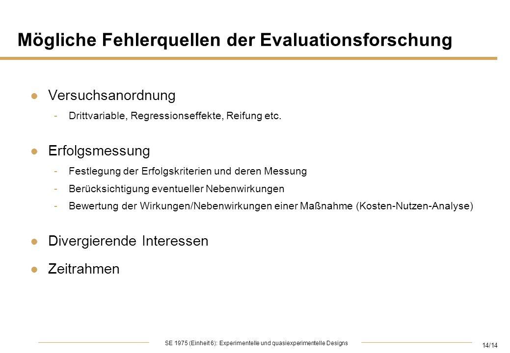 14/14 SE 1975 (Einheit 6): Experimentelle und quasiexperimentelle Designs Mögliche Fehlerquellen der Evaluationsforschung l Versuchsanordnung -Drittva