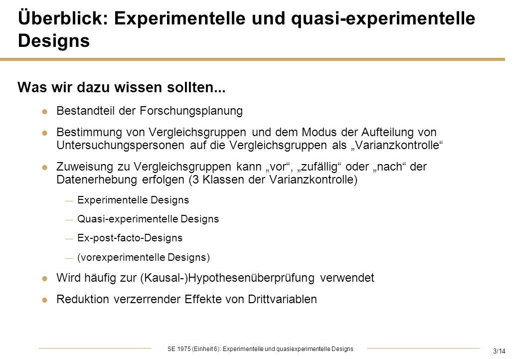 4/14 SE 1975 (Einheit 6): Experimentelle und quasiexperimentelle Designs Vorexperimentelle Designs: XO XO: Experimenteller Stimulus X ist gefolgt von der Beobachtung O, ohne Berücksichtigung von Kontroll- oder Vergleichsgruppen, bzw.