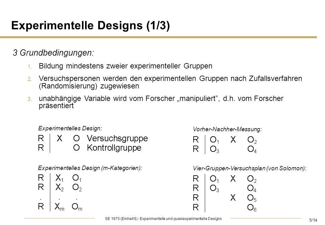 5/14 SE 1975 (Einheit 6): Experimentelle und quasiexperimentelle Designs Experimentelle Designs (1/3) 3 Grundbedingungen: 1. Bildung mindestens zweier