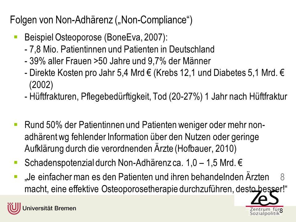 8 8 Folgen von Non-Adhärenz (Non-Compliance) Beispiel Osteoporose (BoneEva, 2007): - 7,8 Mio.