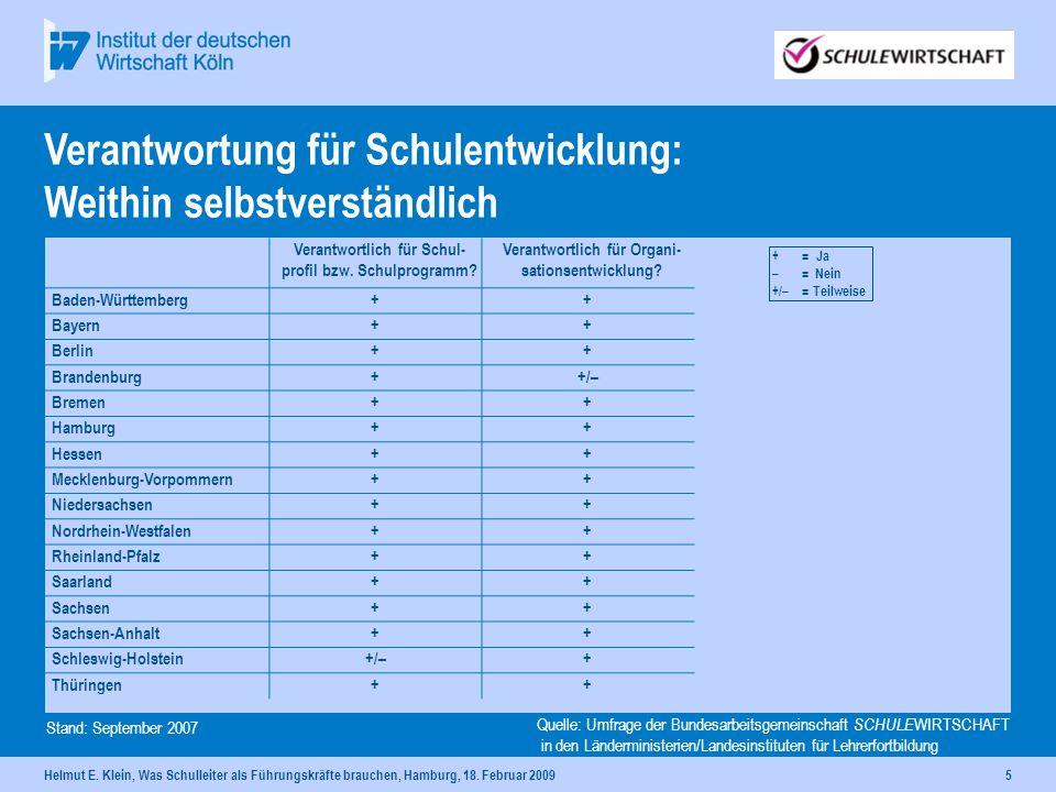 Helmut E. Klein, Was Schulleiter als Führungskräfte brauchen, Hamburg, 18. Februar 20095 Verantwortlich für Schul- profil bzw. Schulprogramm? Verantwo