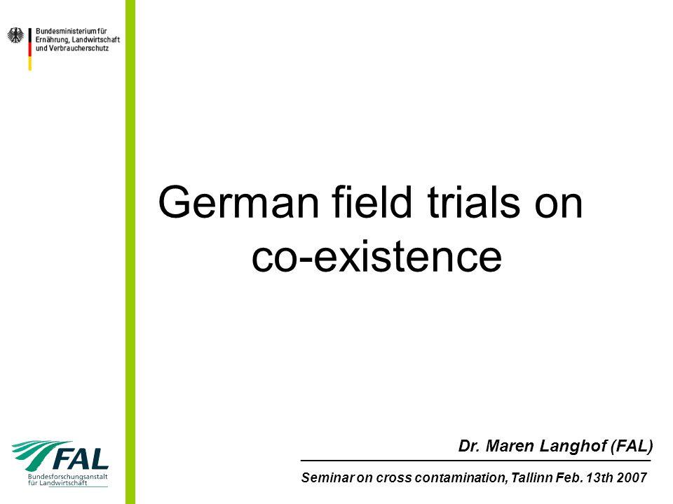 Forschung zur Koexistenz von gentechnisch verändertem (GV) und konventionellem Mais in Deutschland 2 deutsche Forschungsprogramme zur Koexistenz: –Erprobungsanbau (2004 & 2005) –BMELV-Forschungsprogramm zur Sicherung der Koexistenz (seit 2005) –Umsetzung: praxisnahe Feldversuche