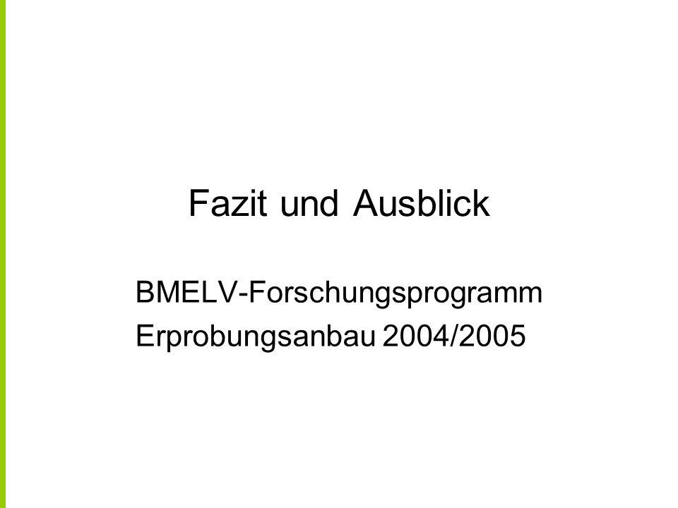 Fazit und Ausblick BMELV-Forschungsprogramm Erprobungsanbau 2004/2005