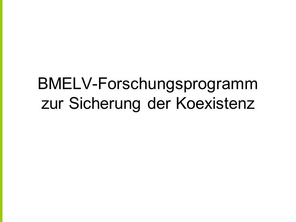 Bundesforschungsprogramm initiiert vom BMELV im Jahr 2005 Umsetzung durch drei Ressortforschungs- einrichtungen des BMELV (FAL, BBA, BAZ) mehrjährige Feldversuche an verschiedenen Standorten Deutschlands Test verschiedener Modellsysteme für Koexistenzstudien