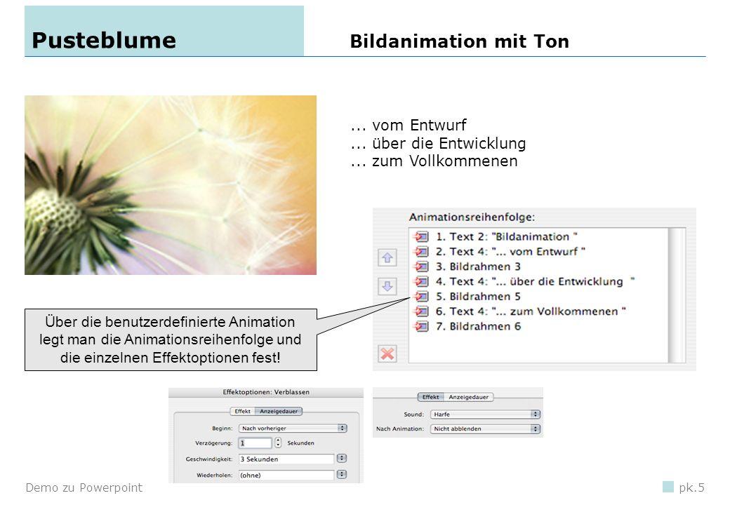 Demo zu Powerpointpk.4 Animation eines Objektes 1.Objekt einfügen 2.Menü Bildschirmpräsentation, Benutzerdefinierte Animation... wählen. 3.Objekt mark
