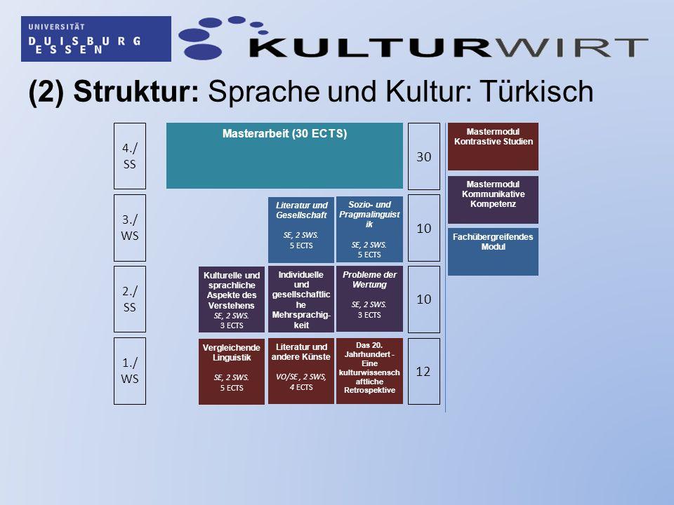 (2) Struktur: Sprache und Kultur: Türkisch 1./ WS 2./ SS 3./ WS 4./ SS 12 10 30 Das 20.