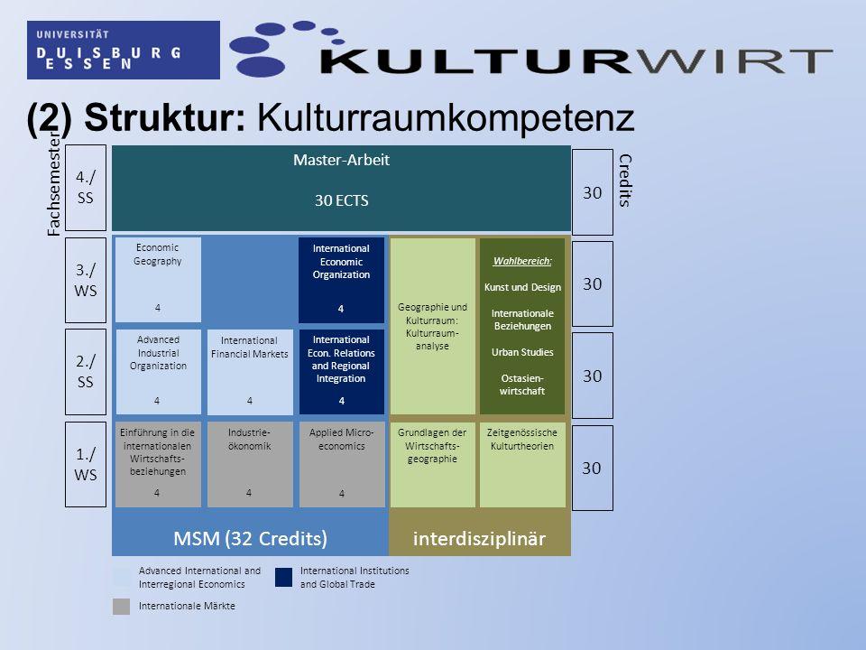 (2) Struktur: Kulturraumkompetenz interdisziplinärMSM (32 Credits) 1./ WS 2./ SS 3./ WS International Economic Organization 4 International Econ. Rela