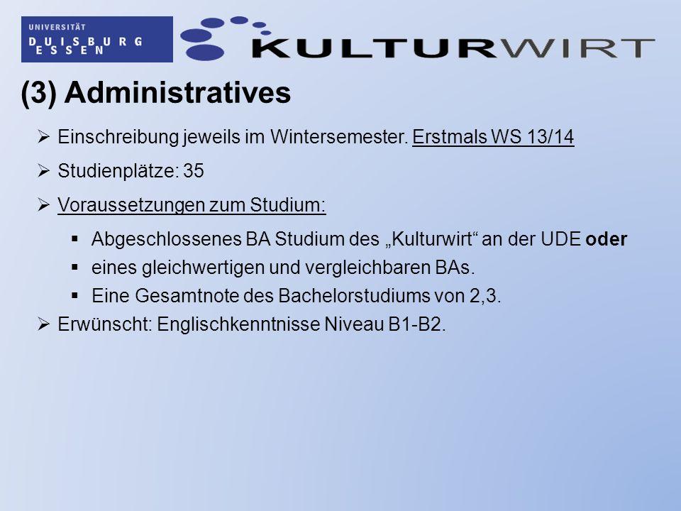 (3) Administratives Einschreibung jeweils im Wintersemester. Erstmals WS 13/14 Studienplätze: 35 Voraussetzungen zum Studium: Abgeschlossenes BA Studi