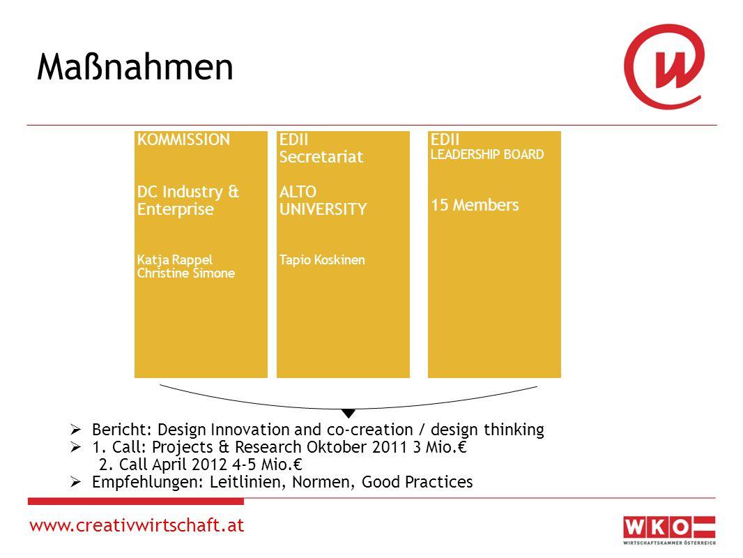 www.creativwirtschaft.at European Design Innovation Initiative Europäische Kommission, GD Unternehmen: Design als wichtigen Treiber von Innovationen, besonders im Dienstleistungsbereich Ziel der Initiative: Designbewusstsein stärken, Potential von Design in Innovationsprozessen vorantreiben, so zur Innovationsunion beizutragen.