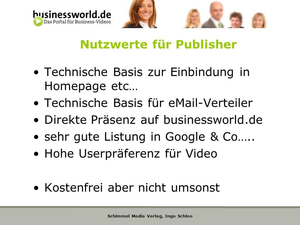 Schimmel Media Verlag, Ingo Schloo Nutzwerte für Publisher Technische Basis zur Einbindung in Homepage etc… Technische Basis für eMail-Verteiler Direk
