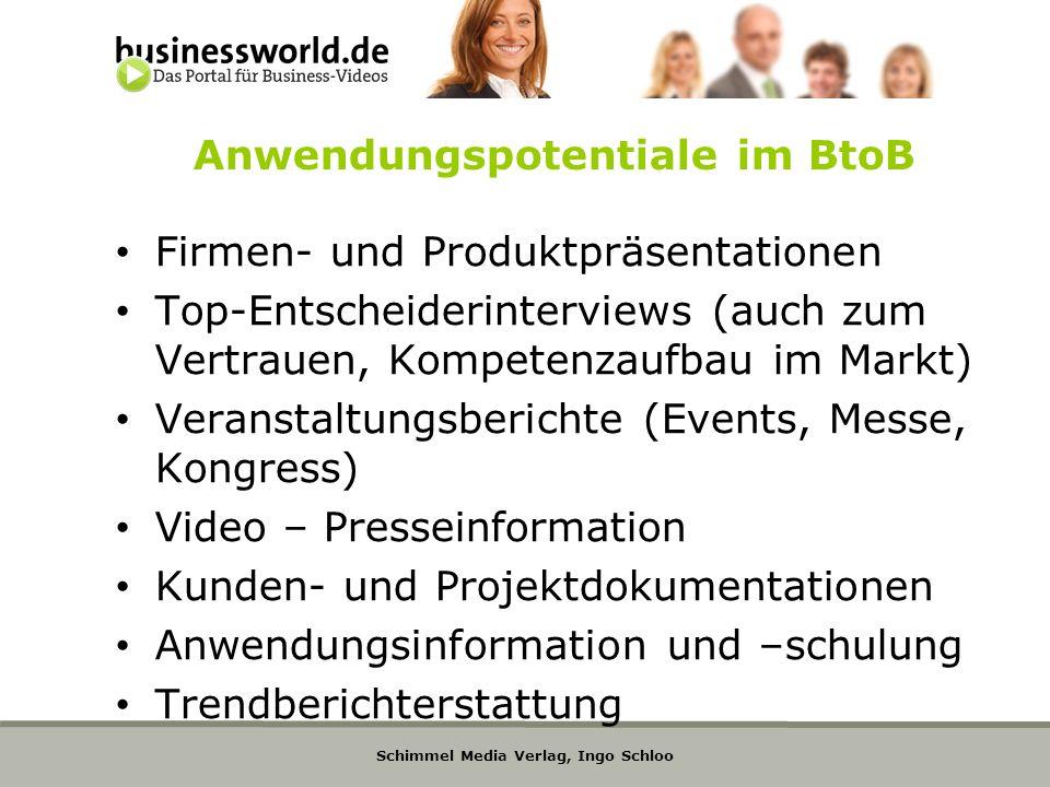 Schimmel Media Verlag, Ingo Schloo Anwendungspotentiale im BtoB Firmen- und Produktpräsentationen Top-Entscheiderinterviews (auch zum Vertrauen, Kompe