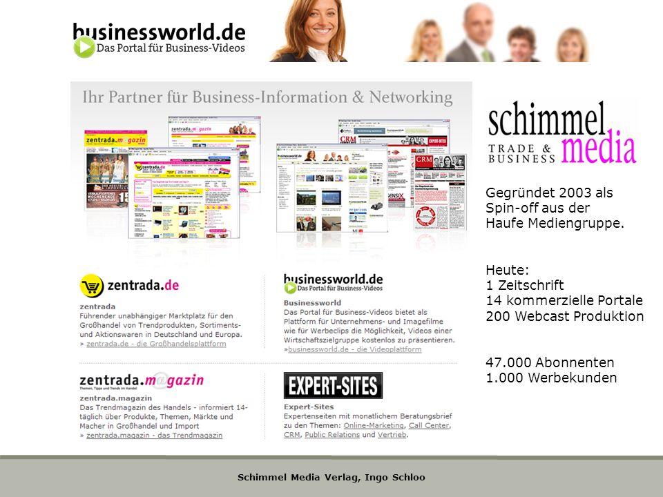 Schimmel Media Verlag, Ingo Schloo Gegründet 2003 als Spin-off aus der Haufe Mediengruppe. Heute: 1 Zeitschrift 14 kommerzielle Portale 200 Webcast Pr