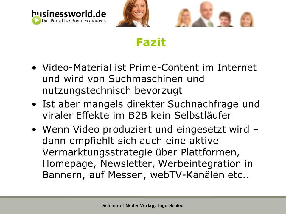 Schimmel Media Verlag, Ingo Schloo Fazit Video-Material ist Prime-Content im Internet und wird von Suchmaschinen und nutzungstechnisch bevorzugt Ist a