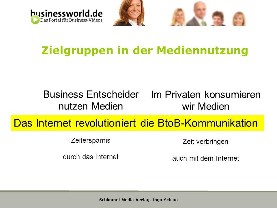 Schimmel Media Verlag, Ingo Schloo Zielgruppen in der Mediennutzung Business Entscheider nutzen Medien Zeitersparnis durch das Internet Im Privaten ko