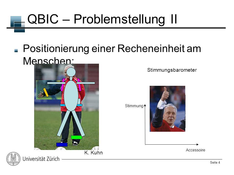 Seite 4 QBIC – Problemstellung II Positionierung einer Recheneinheit am Menschen: Stimmungsbarometer Stimmung Accessoire K. Kuhn