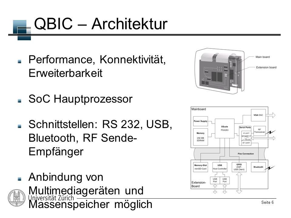 Seite 6 QBIC – Architektur Performance, Konnektivität, Erweiterbarkeit SoC Hauptprozessor Schnittstellen: RS 232, USB, Bluetooth, RF Sende- Empfänger