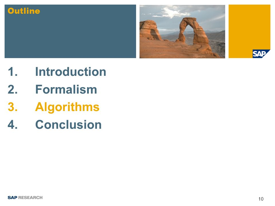 10 1.Introduction 2.Formalism 3. Algorithms 4.Conclusion Outline