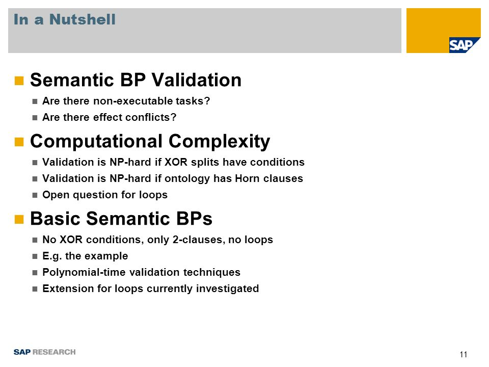 11 In a Nutshell Semantic BP Validation Are there non-executable tasks.