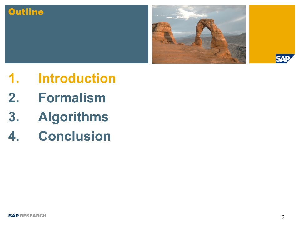 2 1.Introduction 2.Formalism 3. Algorithms 4.Conclusion Outline