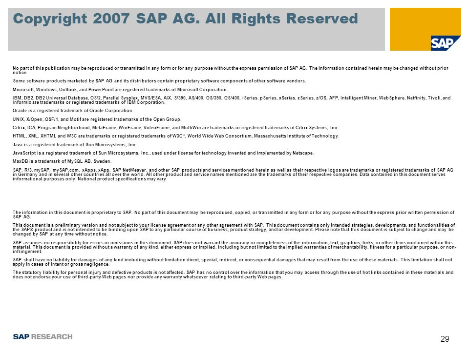 29 Copyright 2007 SAP AG.